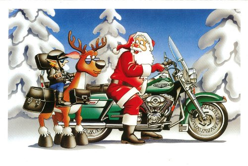 Harley Davidson Christmas Cards, Santa & Elf Enjoy Their Rides, Pack of 10 with envelopes