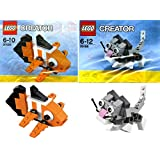 Lego Creator Mini Pets Collection 2 Set Bundle: Cute Kitten 30188 & Clown Fish 30025 (Bagged)