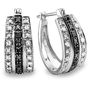0.33 Carat (ctw) Sterling Silver Black & White Round Diamond Ladies Hoop Earrings 1/3 CT