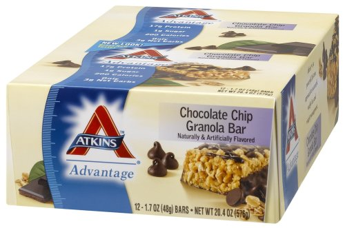 Atkins Advantage Bars, Chocolate Chip Granola, 1.7-Ounce Bars (Pack of 12)