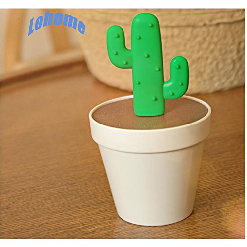 LOHOME(TM) Creative Potted Plant Toothpick Box Cactus Shaped Toothpick Holder (Two Branch) (Beige)