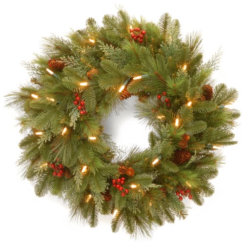 National Tree Nl13-300L-24Wb1 Noelle Wreath With 30 Soft White Led Battery Operated Lights, 24-Inch
