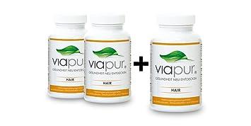 viapur® HAIR - Haarwachstum beschleunigen - Naturliches Mittel gegen Haarausfall. 2 Dosen + 1 Dose Gratis, ausreichend fur 3 Monate. 100% pure Aminosäuren, Mineralstoffe und Vitamine
