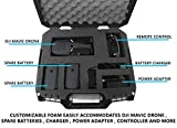 DRONESAFE-Rugged-Mini-Drone-Carry-Case-Organizer-With-Customizable-Foam-Protect-DJI-Mavic-Pro-Foldable-Drone-Combo-and-Accessories-Such-as-Remote-Control-Extra-Batteries-Propellers-and-More
