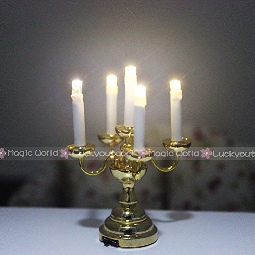 [Jewelryfinds Desk Table Lamp Candle Light With Holder Switch Battery Dollhouse Miniature 1:12] (Toddler Fried Egg Costume)