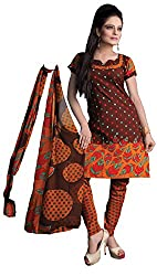 Atisundar Womens Faux Georgette Anarkali Unstitched Dress Material (5650_46_2415 _Brown)
