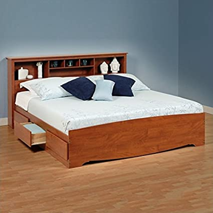 Prepac Monterey King Bookcase Platform Storage Bed in Cherry