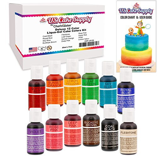 12 Color-US Cake Supply® by Chefmaster Liqua-Gel Paste Cake Color Set - The 12 Most Popular Colors in 0.75 fl. oz. (20ml) Bottles (Edible Dough compare prices)