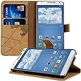 kwmobile Étui en cuir synthétique chic pour Samsung Galaxy Note 3 N9000 / N9005 avec fonction support pratique. Motif carte en Marron
