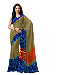 Beige Color Georgette Printed Saree With Blouse 7014