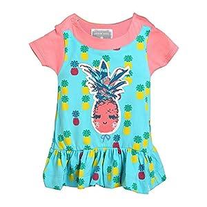 Rockin' Baby Girls Turquoise Pineapple Applique Ruffle Chloe Dress 0-3M