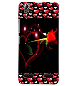 ColourCraft Lovely Heart and Rose Design Back Case Cover for LENOVO A6000 PLUS