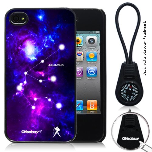 Oksobuy® Aquarius Constellation with Deep Blue Starship Background for Iphone 4/4s Case Black-0330