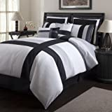 Triangle Home Fashions 19303 Lush Decor Iman 8-Piece Comforter Set, Queen Size, White / Black