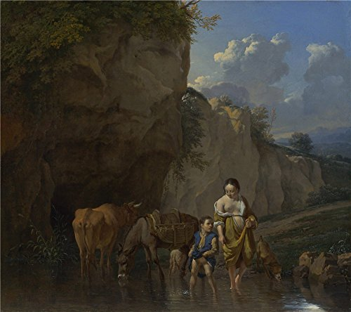 High Quality Polyster Canvas ,the Amazing Art Decorative Canvas Prints Of Oil Painting 'Karel Dujardin A Woman And A Boy With Animals At A Ford ', 20 X 23 Inch / 51 X 57 Cm Is Best For Living Room Gallery Art And Home Gallery Art And Gifts