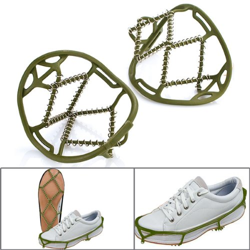 One Pair Unisex Green Good Elastic Durable Latex Rubber Steel Spiral Spring Fast On Anti Slip Snow Winter Sport Cross Country Ice Cleat Fit US Size 5-10