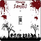 "Rikki KnightTM ""Marquise"" Loves Zombies on Red Grunge Personalized with Name - Single Toggle Light Switch Plate"