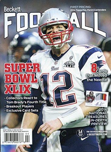 Current Beckett Football Monthly Price Guide Card Value Magazine Tom Brady Patriots Cover April 2015