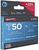 Arrow 50424 5/16-Inch Genuine T50 Staples, 1,250-Pack
