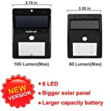 Bright Outdoor Solar Lights Motion Sensor Detector - No Battery Required - Weatherproof Wireless Exterior Security Outdoor Lighting For Patio Deck Yard Garden Home Driveway Stairs Outside Wall, Day / Night Auto On / Off - (No Dim Light Mode) - 3 Pack