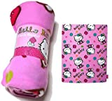 Pink Hello Kitty 'Folk' Multiple Hello Kitty Fleece Snuggle Blanket