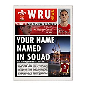 Personalised Wales Rugby Newspaper Gift - Single Page - (DON'T FORGET TO SEND US YOUR PERSONALISATION) by UR-Inthepaper Limited