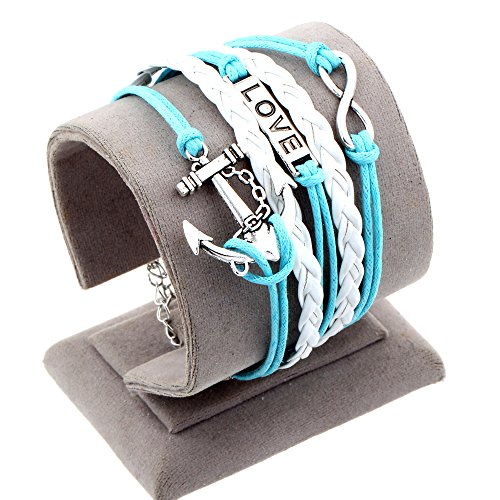 2015 New Fashion Vintage Love Nautical Anchor Silver Infinity Bracelet White Leather Skyblue Rope