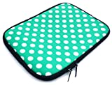 Emartbuy® Polka Dots Green / White Water Resistant Neoprene Soft Zip Case/Cover suitable for Asus X502CA ( 15-16 Inch Laptop / Notebook )