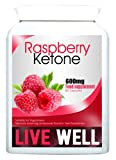 LIVE WELL Raspberry Ketone - 100% Pure Premium Maximum Strength Diet Pills 600mg x 60 Capsules - Natural Weight Loss Supplement Highly Recommended by Dr. Oz - Suitable For Vegetarians - Premium GMP Supplement (Perfect Start For Diet When Combined With LIVE WELL Inner Cleanse Detox)