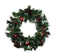 "24"" Pre-Decorated Holly Berry & Pine Cone Artificial Christmas Wreath - Unlit by CC Christmas Decor"