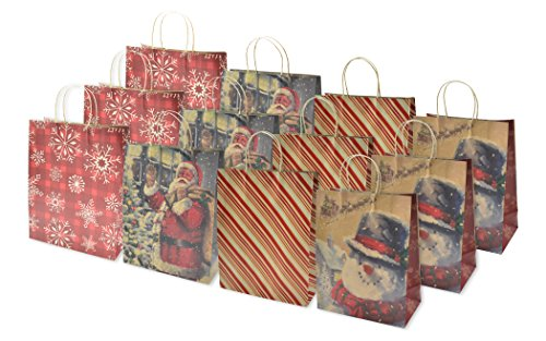 Christmas Large Gift Bags Kraft, 12 Pack