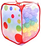 Non-Toxic 200 'Phthalate Free' Crush Proof Non-Recycled Quality 6.5cm Pit Balls w/ Polka Dot Hamper & Test Reports: 6 Colors - Red, Orange, Yellow, Green, Blue, and Purple