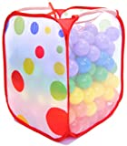 "200 ""Phthalate Free"" Crush Proof 6.5cm Pit Balls w/ Polka Dot Hamper: 6 Colors - Red, Orange, Yellow, Green, Blue, and Purple"