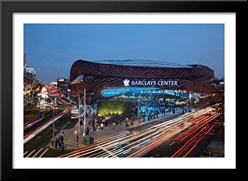 Barclays Center 40x28 Large Black Wood Framed Print Art - Home of the Brooklyn Nets (Barclays Center compare prices)