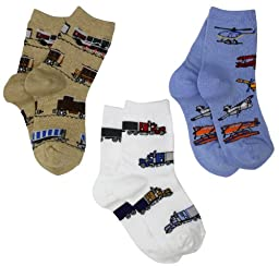 Jefferies Socks Little Boys\' Transportation Triple Treat Socks  (Pack of 3), Burlap, Toddler
