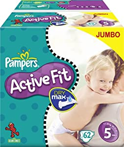 Pampers Active Fit Size 5 Junior Nappies Jumbo Box (2 Packs of 62 Nappies, total 124 Nappies)