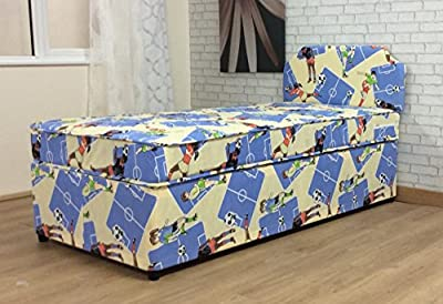 3FT Boys Single Divan Bed Mattress with Alexander Headboard Children's Football with No Storage