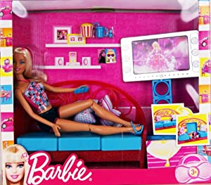 Barbie t9080 living room barbie doll with apartment - Barbie living room dress up games ...