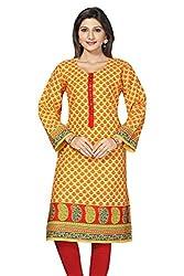 SK Kurtis Jaipur cotton yellow printed Cotton Kurtis, Casual Kurtis, Long Kurtis, Designer Kurtis. (Size : Large) (SK0339-L)