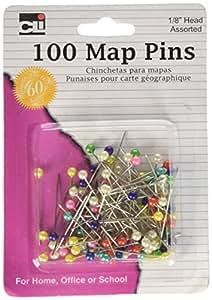 "Charles Leonard Pins - Map - 1/8"" Head - 100/Card, 21118"
