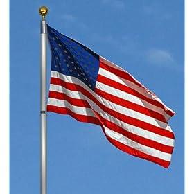 New 25' Aluminum Telescopic Flagpole Includes U.S Flag & Gold Ball Flag Pole Telescoping
