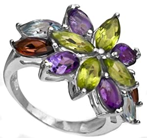 Faceted Gemstone Ring (Amethyst, Garnet, Peridot and BT) - Sterling Silver