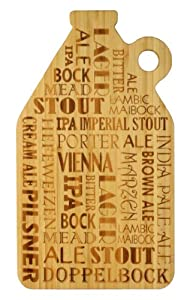 Totally Bamboo Laser-Etched Growler Shaped Cutting and Serving Board, 15-Inch, Beer