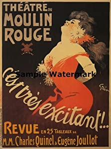 "Moulin Rouge Excitant Lady Red Dress Flowers Theater Theatre 12"" X 16"" Image Size Vintage Poster Reproduction"