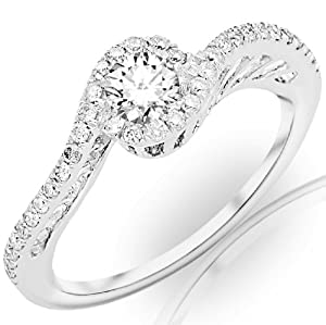 0.55 Carat Round Cut/Shape 14K White Gold Halo Style Swirly Twisting Pave Set Round Cut Diamond Engagement Ring ( D-F Color , VS1-VS2 Clarity )