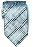 Retreez Tartan Check Styles Woven Microfiber Men's Tie - Grey