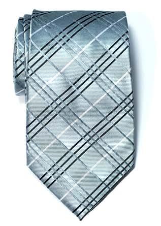 Retreez Tartan Check Styles Woven Microfiber Men's Tie Necktie - Grey
