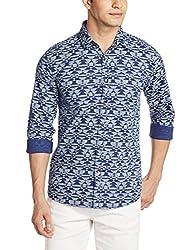 Wrangler Men's Casual Shirt (8907222643805_W14820945114_Small_Dark Blue)