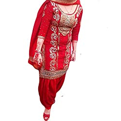 Reet Glamour Women 's Cotton Unstitched Red Embroidered Punjabi Suit