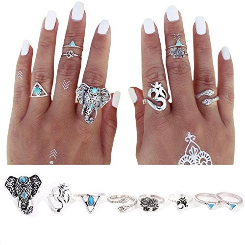Rings Set;START 8PCS/Set Bohemian Elephant Head Arrow Moon Snack Turquoise Rings (Elephant Rings For Women compare prices)